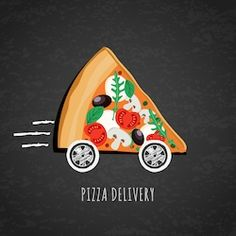vector design for pizza delivery italian restaurant menu cafe pizzeria. pizza with wheels on black chalkboard background. slice of pizza with tomato olives mushrooms. Food Poster Design, Menu Design, Food Design, Pizza Meme, Pizza Logo, Pizza Humor, Food Advertising, Creative Advertising, Delivery Pizzaria