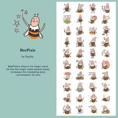 LINE貼圖小蜜蜂BiBi #illustration #daylilyart #插畫 #玳力力