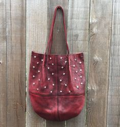 Red Leather Shoulder Bag with Studs