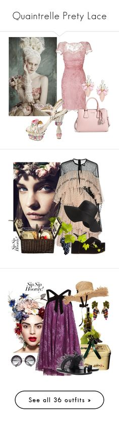"""Quaintrelle Prety Lace"" by bibiantje-m on Polyvore featuring mode, Dolce&Gabbana, Emilio Pucci, Cara, Philosophy di Lorenzo Serafini, Old Navy, Picnic at Ascot, girlstrip, WineTastingOutfit en Ancient Greek Sandals"