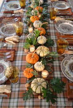 Table with Turkey Plates, Plaid and Pumpkin-Oak Leaf Runner Thanksgiving table with assorted turkey plates, plaid tablecloth and easy centerpiece with pumpkins, oak leaves, nuts and votives Thanksgiving Table Settings, Thanksgiving Centerpieces, Thanksgiving Parties, Holiday Tables, Thanksgiving Crafts, Outdoor Thanksgiving, Happy Thanksgiving, Fall Table Settings, Christmas Tables