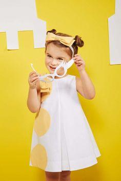 A-line dress with sunflower yellow balls from Simonetta Kids Fashion Wear, Young Girl Fashion, Boy Fashion, Toddler Girl Dresses, Little Girl Dresses, Toddler Outfits, Kids Outfits, Dress Anak, French Kids