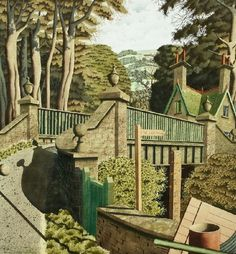 To the Lighthouse por Simon Palmer Landscape Drawings, Landscape Paintings, Landscapes, Woodcut Art, European Paintings, Modern Landscaping, Contemporary Landscape, Map Art, Watercolor Illustration