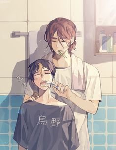 Haikyuu!! - Asahi x Nishinoya | When your boyfriend brushes your teeth he must love you