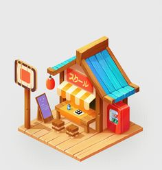 Asian cafe on Behance Game Concept, Concept Art, Asian Cafe, Restaurant Game, Casual Art, Isometric Art, Game Props, Game Background, 3d Assets