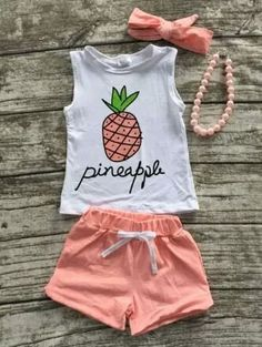 Coral Pineapple Shorts Set