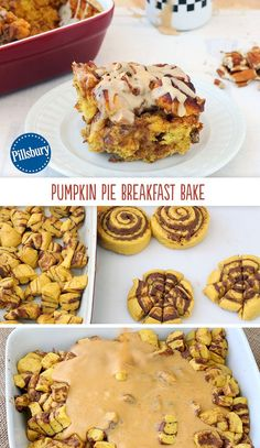 The arrival of pumpkin season is reason enough to have pie for morning breakfast. Start the party with this cinnamon roll bake! It's ooey, gooey and delicious. Plus it has all your Fall favorite flavors.