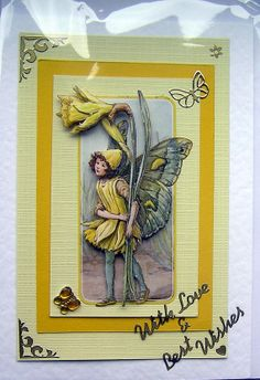 Fairy HandCrafted 3D Decoupage Card With Love & by SunnyCrystals, £1.45 #card #decoupage #spring #daffodil #flower #yellow
