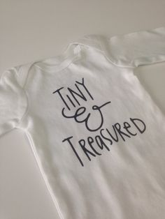 Unisex Onesie Tiny & Treasured, gender neutral onesie, gender neutral outfit, hospital outfit, coming hone onesie, baby onesie by GiaRoseDesigns on Etsy https://www.etsy.com/listing/268223768/unisex-onesie-tiny-treasured-gender
