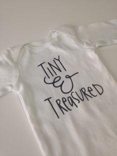Unisex Onesie Tiny & Treasured, gender neutral onesie, gender neutral outfit, hospital outfit, coming hone onesie, baby onesie by GiaRoseDesigns on Etsy https://www.etsy.com/listing/268223768/unisex-onesie-tiny-treasured-gender