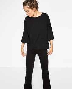 Image 3 of T-SHIRT WITH RUFFLE SLEEVES from Zara