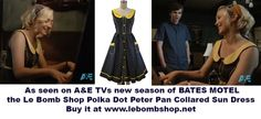 As seen on the trailer for the new season of A&E's BATES MOTEL - our polka dot peter pan collared sun dress!!!! Buy it here at le bomb shop for only $54 + Free U.S. Shipping: http://lebombshop.net/search?type=product&q=%22peter+pan+collared+polka+dot+pocket+dress%22&search-button.x=11&search-button.y=6