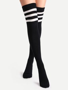 Shop Black Varsity Stripe Over The Knee Socks online. SheIn offers Black Varsity Stripe Over The Knee Socks & more to fit your fashionable needs. Striped Socks, Black Socks, Over The Knee Boot Outfit, Thigh High Socks, Thigh Highs, Cute Socks, Sport Socks, Fashion Socks, Tights
