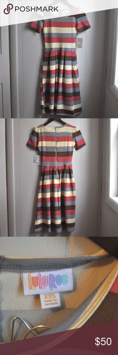 LuLaRoe Amelia Zipper and Pocket Dress XXS New With Tags XXS LuLaRoe Amelia Dress. Pink (Salmon), Blue Grey, Light Yellow, Brown in color. Zipper in back with bilateral pockets to sides. Waist 12in flat lay Bust 13.5 in  Shoulder to hem 36.5 in Offers are welcome and bundling is encouraged. Lots of other items listed in my closet. LuLaRoe Dresses Midi
