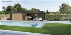 Tuinontwerp moderne tuin met poolhouse en zwambad : Tuinarchitect Timothy cools Firma : Tuinarchitectengroep eco bvba Aalst
