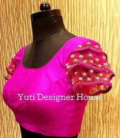 Hand embroidered Ruffled sleeved blouse by YUTI! Beautiful pink color designer blouse with ruffled sleeves. Sleeves with floral design hand embroidery work. For Price and Other details reach at 044-42179088 or Whatsapp: 7010905260. 29 July 2018
