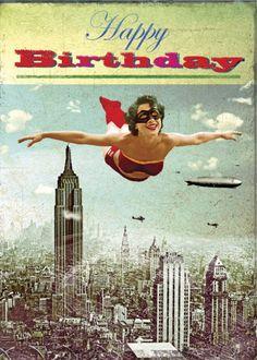 "The Best Happy Birthday Memes Carte double ""Bon anniversaire Super Héroïne"" Happy Birthday Vintage, Happy Birthday Quotes, Happy Birthday Images, Happy Birthday Greetings, Birthday Messages, Birthday Pictures, Birthday Fun, Birthday Wishes, Happy Birthday Woman"