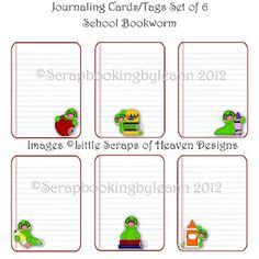 School Bookworm ~ Printable Journaling Card Set & can be used for project life too!