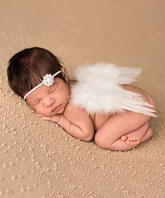 Look at this #zulilyfind! White Angel Wings & Rhinestone Flower Headband by The Tiny Blessings Boutique #zulilyfinds