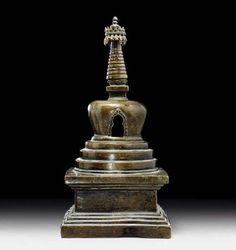 16-го века, Тибет, медный сплав. ступы реликварии