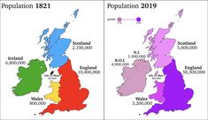Population Change of Britain and Ireland over two hundred years Blue Green Eyes, Indian Language, Important Facts, Historical Maps, Celtic Knot, Illusions, Britain, United Kingdom, History