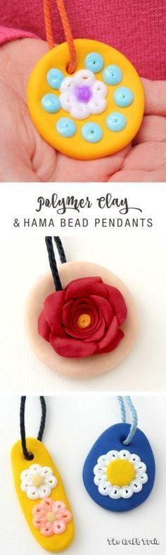 Polymer clay pendants with hama beads