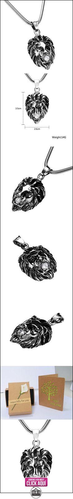Daesar Joyería Collares de Hombre Acero Inoxidable Cabeza de Rey León Cz Plata Colgantes Vintage 2.6X3.5cm  ✿ Joyas para niños - Regalos ✿ ▬► Ver oferta: https://comprar.io/goto/B01MQKBX5L