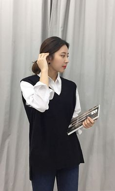 Off to work in this smart casual vest and shirt from Daily About! Asian Fashion, Style Fashion, Korean Fashionista, Street Outfit, Asian Style, Smart Casual, Dress Up, Vest, Ootd