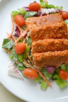 Baked buffalo tempeh tenders- from fork and beans blog, gluten, egg, and dairy free