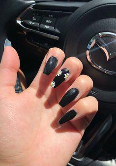 hair nails trend - hair nails and skin vitamins . hair nails and skin vitamins it works . hair nails and skin vitamins results . hair nails and makeup . Black Acrylic Nails, Black Nail Art, Summer Acrylic Nails, Best Acrylic Nails, Cute Black Nails, Black White Nails, Black Nails Tumblr, Long Black Nails, Black Coffin Nails