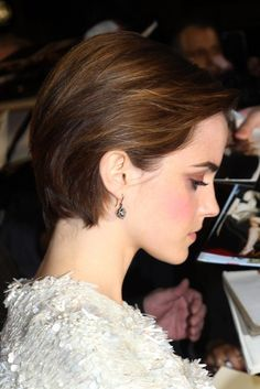 short hairstyles for 2014 | Cute, Side Parted, Combed-back Bob Cut – Emma Watson Short Hairstyle