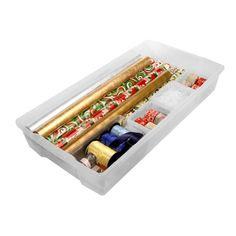 Underbed Gift Wrap Storage Kit ($31.49) - store large & small gift wrap rolls along side ribbons, bows, & tags