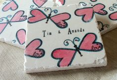 Personalized Coasters, Heart Butterfly