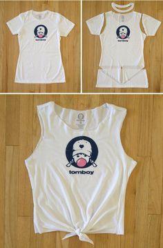 How to cut a t-shirt into a crop top tutorial, DIY, tank top, cut t-shirt ideas, summer outfit idea, summer style, tomboy style #TomboyVintage