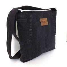 Cross body bag , upcycled denim school bag , black/charcoal Eco friendly shoulder bag for men and women