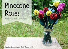 Outdoor kids craft: turn pinecones and twigs into a bouquet of flowers.