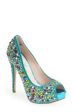 Women's Lauren Lorraine 'Candy' Crystal Peep-Toe Pump