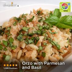 Orzo with Parmesan and Basil from Allrecipes.com #myplate #grain #dairy