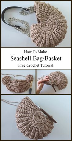 Crochet a seashell bag or basket in style using a fresh new, beginner friendly crochet tutorial. Knit Or Crochet, Crochet Crafts, Yarn Crafts, Crochet Stitches, Fabric Crafts, Diy Crochet Bag, Crocheted Bags, Crochet Motif, Crochet Handbags