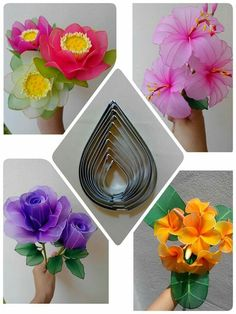 Nylon Flowers, Wire Flowers, Butterfly Flowers, Fabric Flowers, Nylon Crafts, Fabric Flower Tutorial, Nylons, Foam Roses, Wood Glue