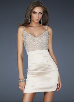 Sheath/Column Sweetheart Short/Mini Satin Cocktail Dress With Beading