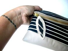 HB NAUTICAL PURSE  / blue and beige bag / blue zipper by Hashibags, $28.00