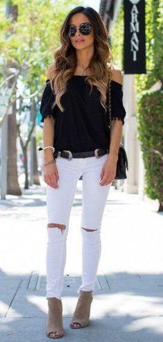 #winter #fashion //  Black Off Shoulder Knit // Destroyed Skinny Jeans // Suede Ankle Booties