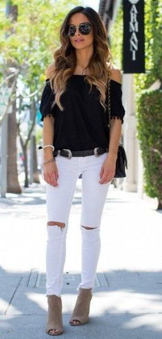 """<a class=""""pintag"""" href=""""/explore/winter/"""" title=""""#winter explore Pinterest"""">#winter</a> <a class=""""pintag"""" href=""""/explore/fashion/"""" title=""""#fashion explore Pinterest"""">#fashion</a> //  Black Off Shoulder Knit // Destroyed Skinny Jeans // Suede Ankle Booties"""