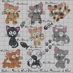 56 New Ideas For Crochet Cat Bookmark Pattern Punto Croce Cat Cross Stitches, Cross Stitch Needles, Cross Stitching, Cross Stitch Embroidery, Crewel Embroidery, Cross Stitch Boards, Mini Cross Stitch, Cross Stitch Animals, Pixel Crochet