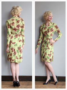 1940s Dress // Chartreuse Floral Rayon Dress // by dethrosevintage