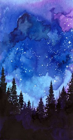 Let's Go See The Stars watercolor night sky!!!!!