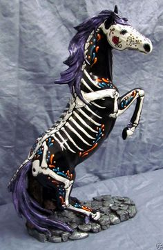 "Day of the Dead Sugar Skull ""Painted Pony"" Memorial Muertos Horse Number 1"