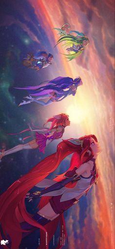 Đây là hình ảnh các vị tướng Jinx, Lux, Poppy, Lulu, Janna trong trang phục Vệ binh tinh tú. Các bạn có thể lưu về máy và đặt nó làm ảnh nền điện thoại. Như vậy sẽ rất đẹp phải không nào? league of legends champions
