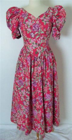 Vintage 1980s Laura Ashley Deep Pink Floral Print Dress